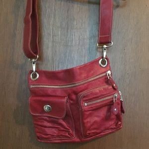 Red leather Roots purse